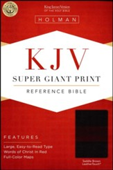 KJV Super Giant Print Reference Bible, Saddle Brown LeatherTouch