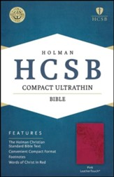 HCSB Compact Ultrathin Bible, Pink LeatherTouch , Gilded
