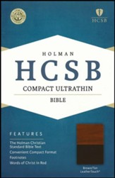 HCSB Compact Ultrathin Bible, Brown  and Tan LeatherTouch , Gilded