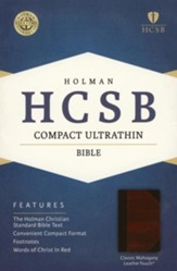 HCSB Compact Ultrathin Bible, Classic Mahogany LeatherTouch