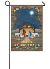 Merry Christmas Nativity Suede Flag, Small