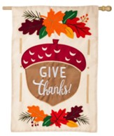 Give Thanks Acorn Applique Flag, Large