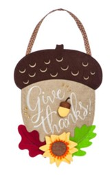 Acorn, Give Thanks Burlap Door Hanger