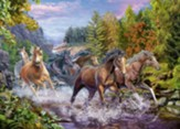 Rushing River Horses Puzzle, 100 Pieces