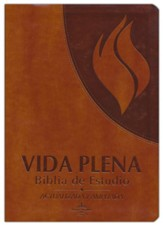 Biblia de Estudio RVR 1960 Vida Plena, Piel Imit., Marron  (RVR 1960 Full Life Study Bible, Imit. Leather, Brown)