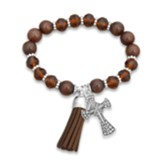 Guardian Angel Beaded Bracelet with Tassel and Cross Charm, Brown