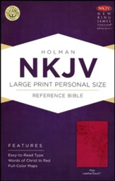NKJV Large Print Personal Size Reference Bible, Pink LeatherTouch - Slightly Imperfect