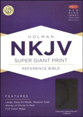NKJV Super Giant Print Reference Bible, Charcoal LeatherTouch, Thumb-Indexed
