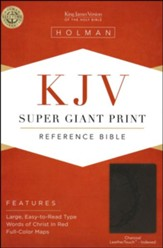KJV Super Giant Print Reference Bible, Charcoal LeatherTouch, Thumb-Indexed
