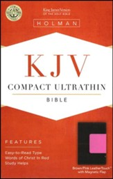 KJV Compact Ultrathin Bible, Brown and Pink Leathertouch with Magnetic Flap