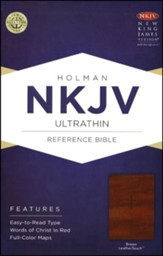 NKJV UltraThin Reference Bible, Brown LeatherTouch