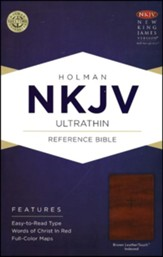 NKJV UltraThin Reference Bible, Brown LeatherTouch, Thumb-Indexed