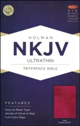 NKJV UltraThin Reference Bible, Pink LeatherTouch
