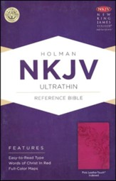 NKJV UltraThin Reference Bible, Pink LeatherTouch, Thumb-Indexed - Imperfectly Imprinted Bibles