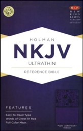 NKJV UltraThin Reference Bible, Purple LeatherTouch, Thumb-Indexed - Slightly Imperfect