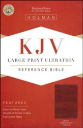 KJV Large Print UltraThin Reference Bible, Brown Imitation Leather, Thumb-Indexed - Imperfectly Imprinted Bibles