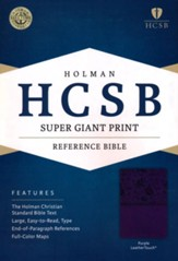 HCSB Super Giant Print Reference Bible, Purple LeatherTouch - Slightly Imperfect