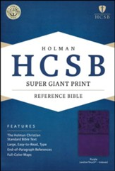 HCSB Super Giant Print Reference Bible, Purple LeatherTouch, Thumb-Indexed
