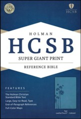 HCSB Super Giant Print Reference Bible, Teal LeatherTouch, Thumb-Indexed , Flower