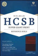 HCSB Super Giant Print Reference Bible, Brown and Tan LeatherTouch, Thumb-Indexed