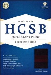 HCSB Super Giant Print Reference Bible, Saddlebrown LeatherTouch, Thumb-Indexed