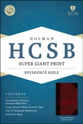 HCSB Super Giant Print Reference Bible, Classic Mahogany LeatherTouch