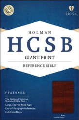HCSB Giant Print Reference Bible, Brown LeatherTouch - Slightly Imperfect