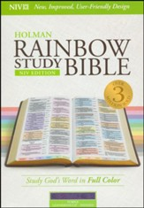 NIV Rainbow Study Bible, Purple LeatherTouch, Thumb-Indexed - Imperfectly Imprinted Bibles