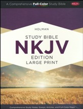 NKJV Large-Print Holman Study Bible, Custom Edition--soft leather-look, brown (indexed) - Slightly Imperfect