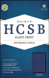 HCSB Giant Print Reference Bible--soft leather-look, cobalt blue - Slightly Imperfect