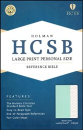 HCSB Large-Print Personal Size Bible--soft leather-look, mint green (indexed)
