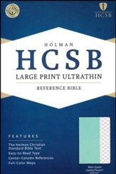 HCSB Large-Print Ultrathin Reference Bible--soft leather-look, mint green (indexed) - Slightly Imperfect