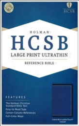 HCSB Large-Print Ultrathin Reference Bible--soft leather-look, cobalt blue (indexed)