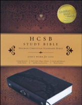 HCSB Study Bible--soft leather-look, charcoal