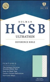 HCSB Ultrathin Reference Bible--soft leather-look, mint green