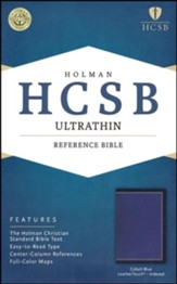 HCSB Ultrathin Reference Bible--soft leather-look, cobalt blue (indexed)