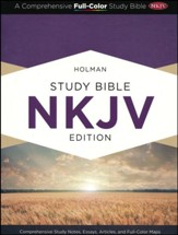 NKJV Holman Study Bible--soft leather-look, charcoal - Imperfectly Imprinted Bibles