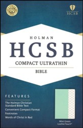HCSB Compact Ultrathin Bible--soft leather-look, mint green