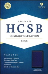 HCSB Compact Ultrathin Bible--soft leather-look, cobalt blue