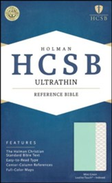 HCSB Ultrathin Reference Bible--soft leather-look, mint green (indexed)
