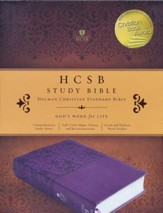 HCSB Study Bible--soft leather-look, purple - Slightly Imperfect