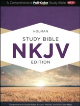 NKJV Holman Study Bible--soft leather-look, purple - Imperfectly Imprinted Bibles
