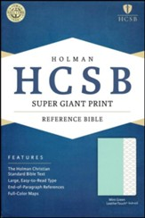 HCSB Super Giant-Print Reference  Bible--soft leather-look, mint green (indexed)