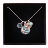 Love the Life You Live Necklace with Heart and Aqua Accent Charm