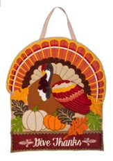 Give Thanks, Turkey Burlap Door Hanger