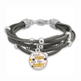 Kind Words are like Honey Bracelet, Grey with Silver Beads