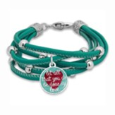 Let All You Do Be Done in Love Bracelet, Turquoise with Silver Beads