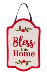 Bless This Home, Holy & Berry Burlap Door Hanger