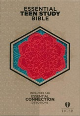 HCSB Personal Size Essential Teen Study Bible, Coral Flower LeatherTouch