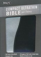 NKJV Compact UltraThin Bible for Teens, Black and Silver LeatherTouch